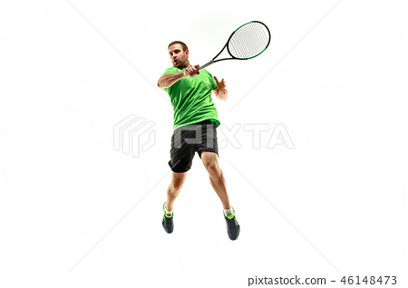 one caucasian man playing tennis player isolated on white background 46148473