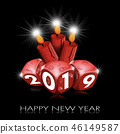 Happy New Year 2019 - Red Dice and Candles 46149587