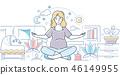 Pregnancy yoga - modern line design style illustration 46149955