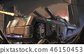 Concept Art Painting of Post-Apocalyptic Armored Vehicle or Tank Fighting in City Ruins 46150453