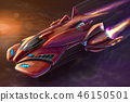 Concept Art Painting of Futuristic Space Ship or Aircraft 46150501