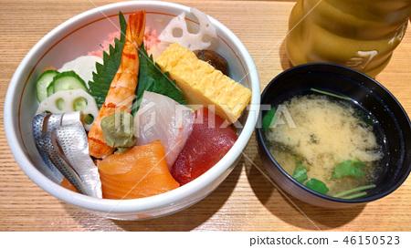 Seafood bowl with miso soup Lunch Japanese Seafood rice bowl and miso soup 46150523