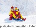 Kids play in snow. Winter sleigh ride for children 46151567