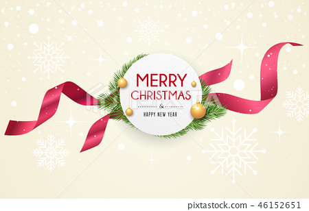 Merry Christmas ribbon label, banners design 46152651