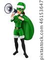3D woman christmas superhero talking on megaphone 46153647