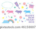 New Year's card 2019, New Year's Day, Horizontal Pastel color 46156607