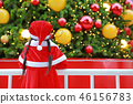 Back view little child girl in Santa costume 46156783