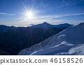 太陽和富士山以及Mt. Kitadake 46158526