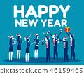ปีใหม่,หมวกซานต้า,นักธุรกิจ 46159465
