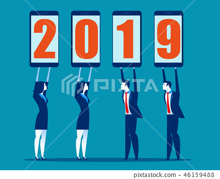 Business team holding smartphone 2019. 46159488
