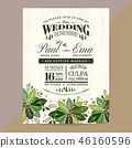 Floral Wedding Invitation card with green leaves 46160596