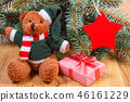 Teddy bear with gift for Christmas 46161229