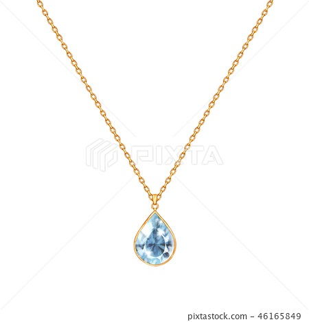 Golden chain necklace with gem. Jewelry design. 46165849