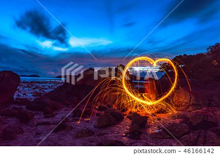 .cool burning steel wool in heart shape 46166142