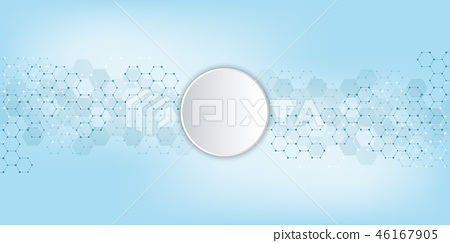 Geometric abstract background with hexagons elements. Medical background texture for modern design 46167905
