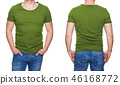 Man in blank olive green tshirt isolated on white 46168772