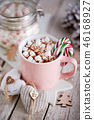 Pink mug of hot chocolate with marshmallows 46168927