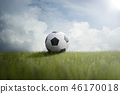 Soccer ball on the lawn 46170018
