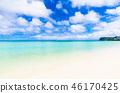 夏天圖像海,海灘,藍天關島 46170425