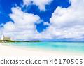 夏天圖像海,海灘,藍天關島 46170505