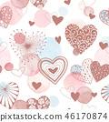 watercolor hearts pattern 46170874