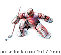 Abstract hockey goalkeeper from splash of watercolors. Hand drawn sketch. Winter sport 46172666