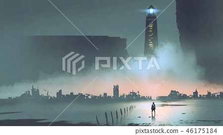 the lighthouse in futuristic world 46175184