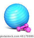 Blue fitness ball and pink weights 3D 46176986