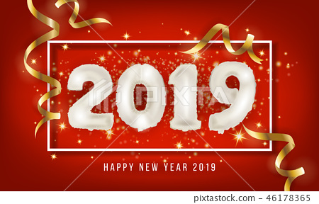 2019 Happy New Year Greeting Card Background. 46178365