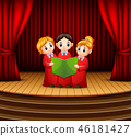 Cartoon of Children choir performing on stage 46181427