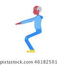 Vector flat elderly black man in sportsuit squat 46182501