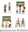 Vector illustration set of young people watching football match and drinking beer in flat style. 46182624