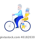 Vector illustration of grandfather driving grandmother on bicycle in flat style. 46182630