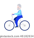 Vector illustration of elderly man riding bike in flat style isolated on white background. 46182634