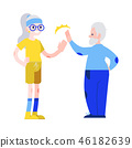 Vector illustration of aged man and woman in sportswear giving each other five in flat style. 46182639