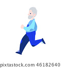 Vector illustration of aged gray-haired man in sportswear jogging in flat style. 46182640