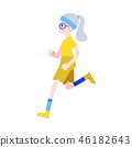 Vector illustration of aged gray-haired woman in sportswear jogging. 46182643