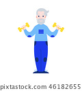 Vector illustration of aged man raising hands with dumbbells in flat style. 46182655