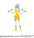 Vector illustration of aged woman raising hands with dumbbells in flat style. 46182657