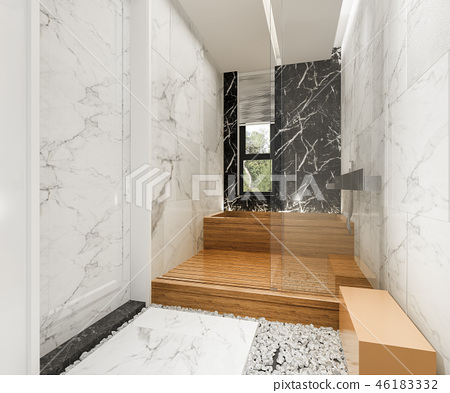 modern bathroom with luxury tile decor  46183332