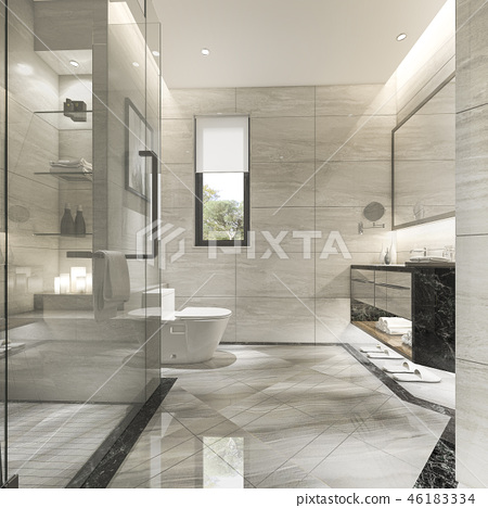 modern bathroom with luxury tile decor  46183334