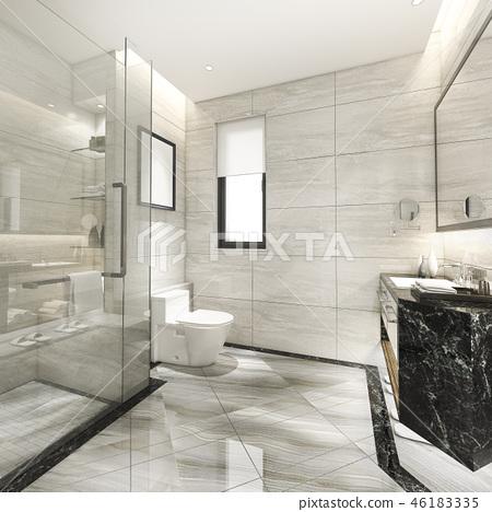 modern bathroom with luxury tile decor  46183335