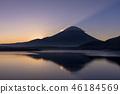 本栖湖和日出富士山 46184569