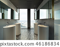 Row of modern white ceramic wash basin in public toilet with cit 46186834