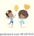 Baby Birthday Party Balloon Dance Poster. African American Boy Character have Fun with Girl Friend 46187425
