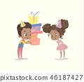 Cute Kids Birthday Party Present Vector Illustration. African American Boy Character give Gift 46187427