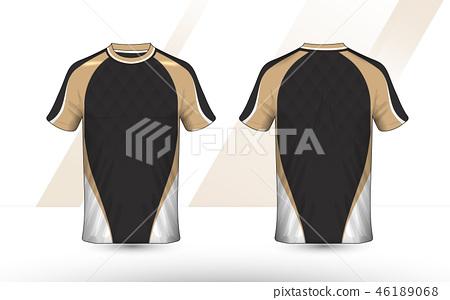 Gold, Black and white layout e-sport shirt design 46189068