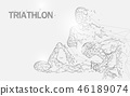 Swimming, cycling and running in triathlon game 46189074