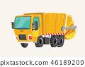 Funny cute hand drawn cartoon vehicles. Bright cartoon garbage truck, fire engine, Vector 46189209
