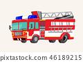 Funny cute hand drawn cartoon vehicles. Bright cartoon fire truck, fire engine, Vector illustration 46189215